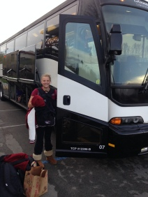 Lauren Radich is ready for the bus ride to the airport!