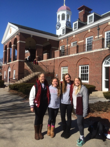 Claire Eadington, Jenny Anderson, Laura Burtness and Elizabeth Anderson pose on the Harvard campus.